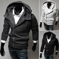 3033# New HOT Men's Casual Oblique zipper hooded big collar Slim Hoodies & Sweatshirts Jacket Coat