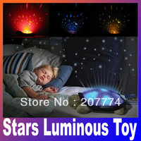 Feeding Stuffed Animals Plush Movies TV Baby kids Classic Toy sleep turtle lights the stars Luminous toy pink gray Free Shipping