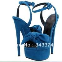 plus size 2013 Women's Platform Pumps Vintage Brand GZ Genuine Nubuck Leather Bowtie Peep Toe High Heel Sandals Shoes