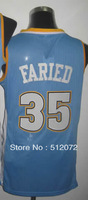 #35 Kenneth Faried Men's Authentic Road Blue Basketball Jersey