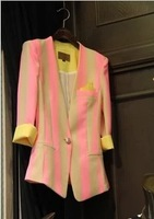 2013 autumn female casual slim vertical stripe short jacket suit blazer