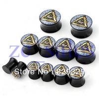 Wholesale 60pcs/lot saddle flesh tunnel stay gold eyes picture double flared ear plug gauges mix 10 sizes