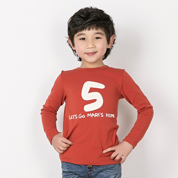 2013 children's clothing male child 100% cotton long-sleeve T-shirt child digital solid color basic shirt