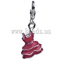 Free shipping!!!Zinc Alloy Lobster Clasp Charm,Wedding, Garment, enamel, dark red, nickel, lead & cadmium free, 35.50x14x7mm