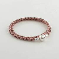 Light Purple Long Leather Bracelet with 100% 925 Sterling Silver Clasp Clip, Compatible With Pandora Jewelry Making PL008-L