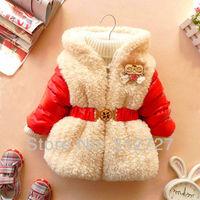free shipping,5 colors 3pcs/1lot kids clothing girls winter coat cute baby clothing, winter belt fur children jacket