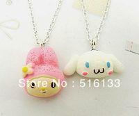 "Free Shipping 6 Strands cute sanrio of cinnamoroll &pink long ear rabbit Resin Pendants Necklace 18"" Cute Retro Sweet Pick Gift"
