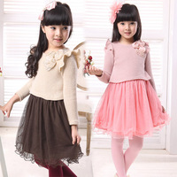 Children's clothing female child sweater one-piece dress autumn yarn sweater one-piece dress princess dress