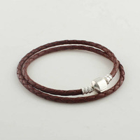 European Dark Brown Long Leather Starter Bracelet with 925 Sterling Silver Clasp Clip, Compatible With Pandora Style PL005-L
