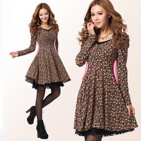 Autumn And Winter Knitted Plus Big Size Floral Porcelain Print Vintage Dress Girls' Lolita Dresses 2013 New Fashion M-XXL