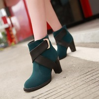 2013 spring and autumn boots thick heel martin boots color block decoration buckle women's ankle-length boots short