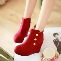 2013 wedges martin boots rivet red bridal shoes wedding shoes women's single boots ankle-length boots