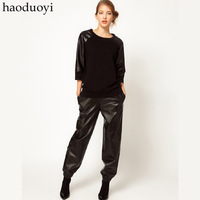 Haoduoyi lulu and co design loose black PU pants trousers 6 full