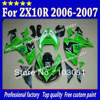 Custom for kawasaki fairing kits ninja ZX 10R 2006 fairings 2007 ZX-10R 06 07 ZX10R glossy green black SM5