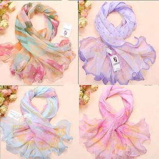 Small facecloth roll-up hem chiffon silk scarf ruffle hem silk scarf small scarf decoration silk scarf