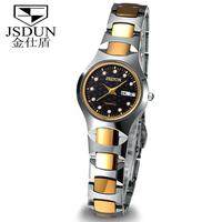 JSDUN Luxury Tungsten Steel Band Date Day Display Skeleton Vintage Women Rhinestone Watches Fashion Women Quartz Wrist Watch6158
