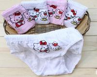 New 2014 Children Cartoon Panties Purified Cotton Hello Cat Kitty underwear clothing set children pants briefs 4 Pcs/Lot