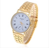 New style.Wholesale Trendy MINGBO Roman Numerals Hour Marks White Round Dial Steel Quartz Wrist Watch for Men(Golden)