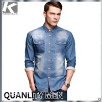 KUEGOU Men's Fashion Long-sleeve Cotton Jean Shirt, Casual Fresh Slim-fit Cool Shirt For Men, Free China Post Shipping
