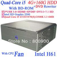 Quad i5 small pc box with DVD rewriter BD-ROM USB 3.0 HDMI 6MB cache Intel VT Turbo Boost Intel HD Graphic 2500 4G RAM 160G HDD