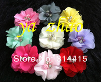 "2"" new chiffon  flower with pearl & rhinestone, nice for baby headband, handmade flower, 12colors in stock, 360pcs/lot, free EMS"