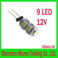 Free shipping 10pcs/lot G4 9 White SMD LED 5050 Light Home Car RV Marine Boat Lamp Bulb DC-12V Wholesale