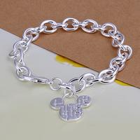 Hot sale H289 Free Shipping Wholesale 925 silver bracelet, 925 silver fashion jewelry  mickey charm bracelet  best gift