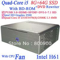 smallest windows computer USB 3.0 hdmi with Intel Quad Core i5 2310 2.9Ghz 3470 3.2Ghz 2500K 3.3Ghz 3470S 3.2Ghz 8G RAM 64G SSD