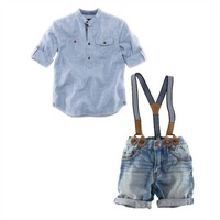 New Design Children boy Clothing sets  Braces jeans suit  Two short sleeve suit leisure suit