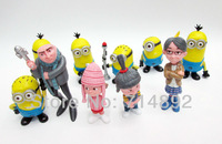 "Despicable Me figure Minion Gru + Margo + Edith + Agnes + Minions cute dolls 10pcs/set 4.5"" PVC for Kids toys free shipping"