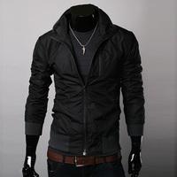 All-match fashion autumn men's jacket outerwear rib knit bottom male stand collar slim thin jacket