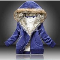 New 2013 Female Autumn Hoodie Women's Thick warm Pure Cotton Sweater Hairy hat Fur collar coat Winter jacket
