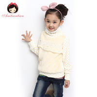 Children's clothing female child basic 2013 autumn shirt medium-large child clothes flower T-shirt long-sleeve shirt
