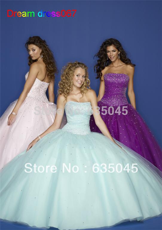 Custom made Pink Blue Purple Satin Tulle Beading Strapless Quinceanera Dress Masquerade Ball Gowns Vestidos De