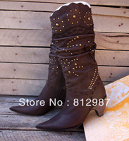 Special offer Free shipping 2013  fashion women's classic retro rivets warm winter cow leather +plush high boots/riding boots