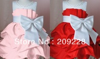 Best-selling blasting over 2013 big bowknot girl dress is pink. Big red baby dress retail