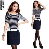 A word shoulder flow horizontal stripe  women dress 88011