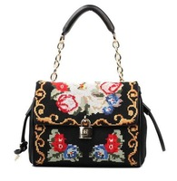 New cross stitch designer brand handmade flower cover bags national real genuine leather chain lock shoulder handbags free ship