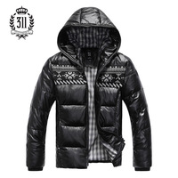 311 men's clothing with a hood slim male winter down coat outerwear short design top
