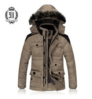 New arrival 311 Men male down coat with a hood business casual outerwear men's clothing slim