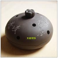 Buddhism supplies purple ceramic fragrance lotus incense burner plate incense stove exquisite