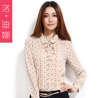 Women's autumn long-sleeve chiffon shirt top polka dot peter pan collar chiffon shirt lace chemise