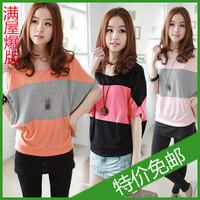 2013 summer women's all-match o-neck loose plus size batwing stripe basic shirt short-sleeve T-shirt