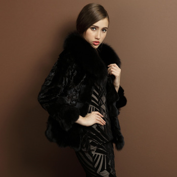 Fur coat fox fur 2013 Splice mink short design coat lj1239