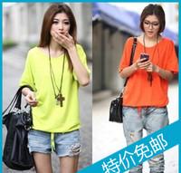 2013 summer women's fashion V-neck loose plus size basic shirt top short-sleeve T-shirt