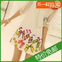 2013 summer women's fashion plus size o-neck slim lace short-sleeve chiffon one-piece dress