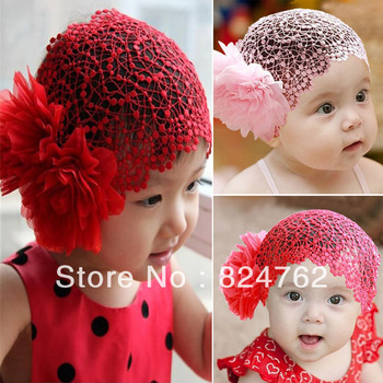 Free&Drop Shipping Toddlers Girls Kids Lace Hat Big Flowers Hat Sewing Cap Headband 1-6T 2 Colors XL142