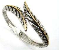 Free shipping fashion gold and rhodium leaf  alloy bangle bracelet for women cuff bangle bracelet jewelry