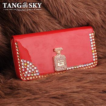 Women's Clutch Handbag Purse 100 3 ! perfume cornille three-dimensional rhinestone decoration crystal long design   Wallet Bag