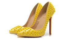 Red outsole heels Top quality women sexy brand pumps 12cm high heel yellow leather of paint spike 904 Eur size 35-41
